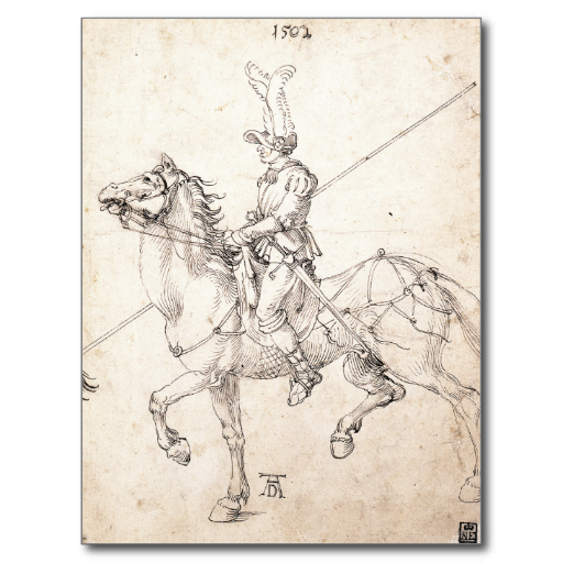 #Lancer on #Horseback by Albrecht #Durer #Postcard #renaissance #drawing