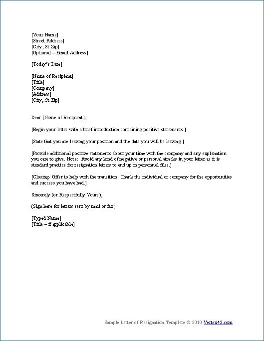 Sample Of Resignation Letters   Sample Of Resignation Letters