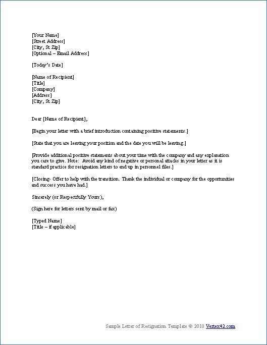 Pin by Skippy Peanuts on Work ideas  Formal resignation letter sample Letter sample Letter