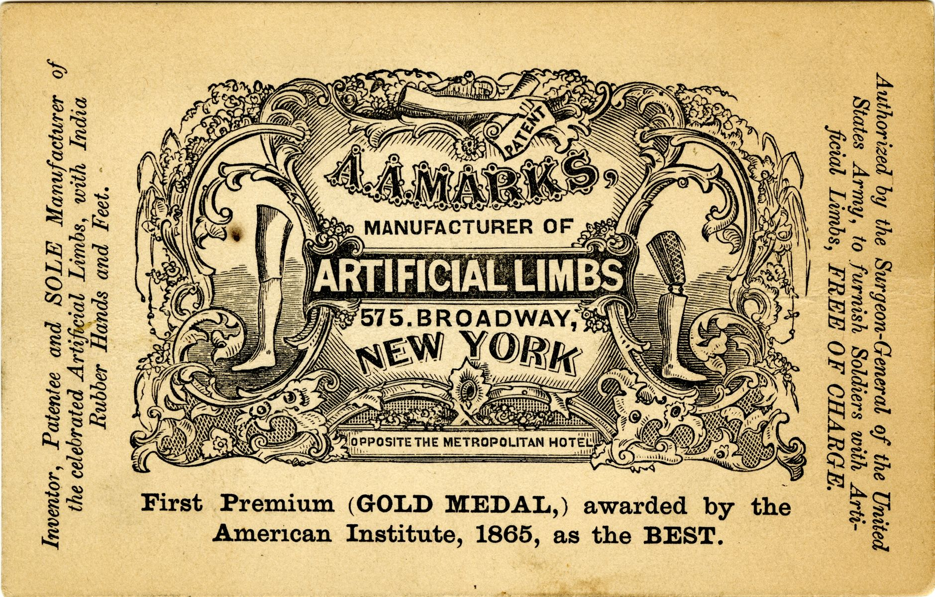 1860s A A Marks Artificial Limbs Think