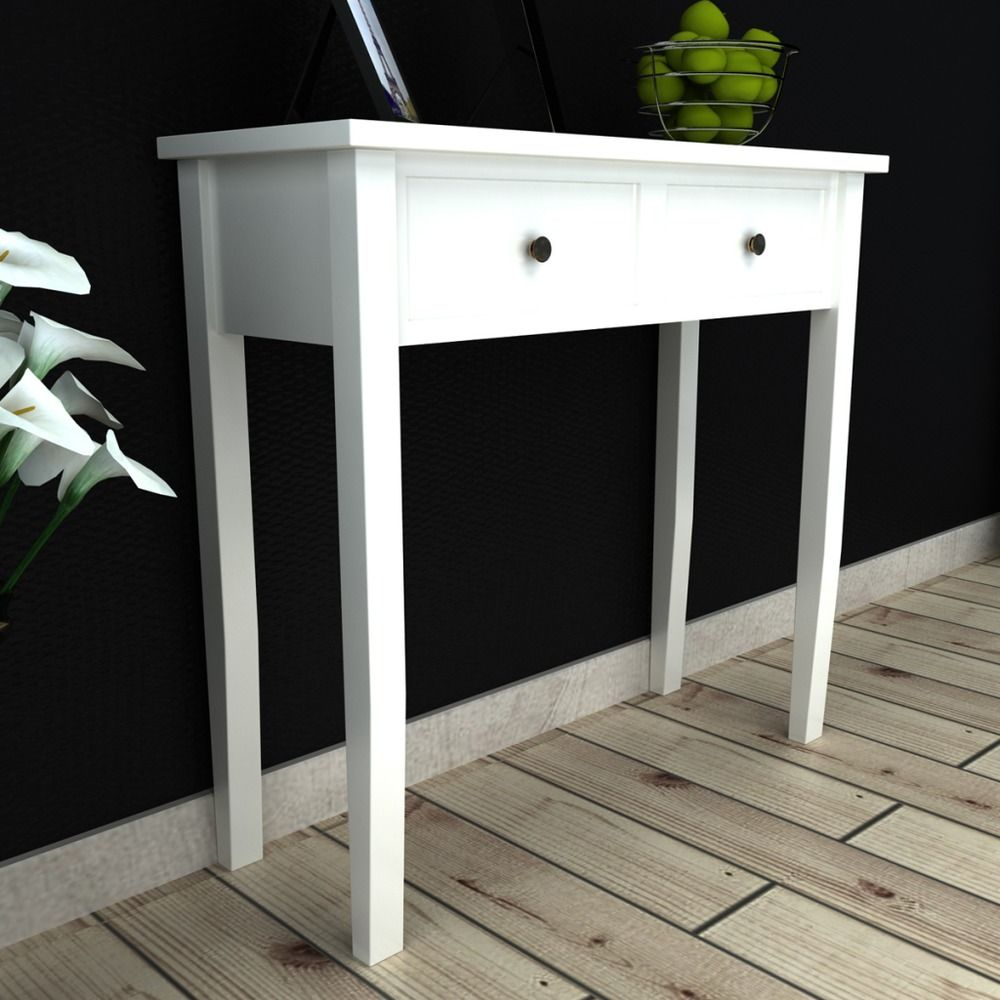 Contemporary hallway furniture  White Dressing Console Side Table Two Drawers Makeup Bedroom Living