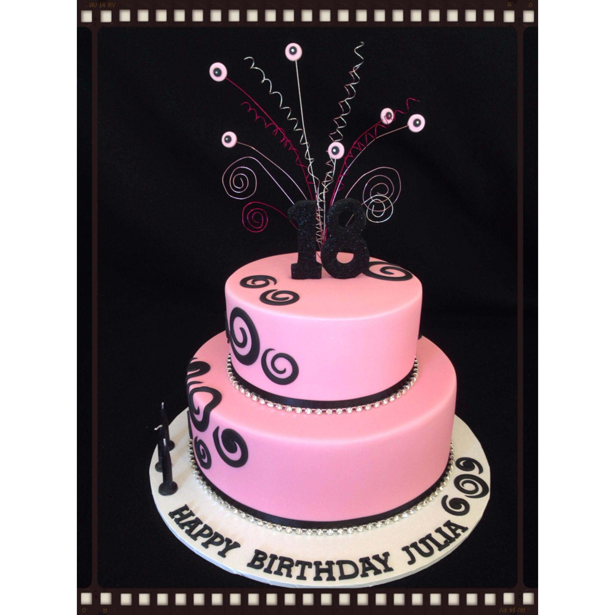 18th Birthday Cake Pink And Black