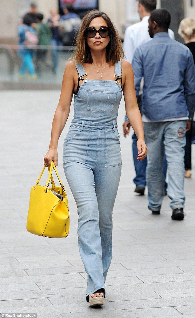 Myleene Klass reveals her black lace bra under denim jumpsuit ...