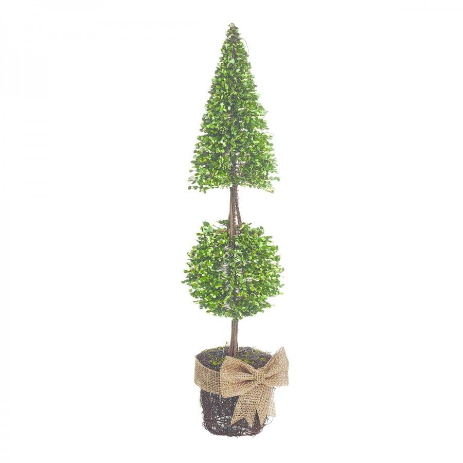 Pre lit outdoor battery potted pointed ball topiary tree 51cm pre lit outdoor battery potted pointed ball topiary tree 51cm aloadofball