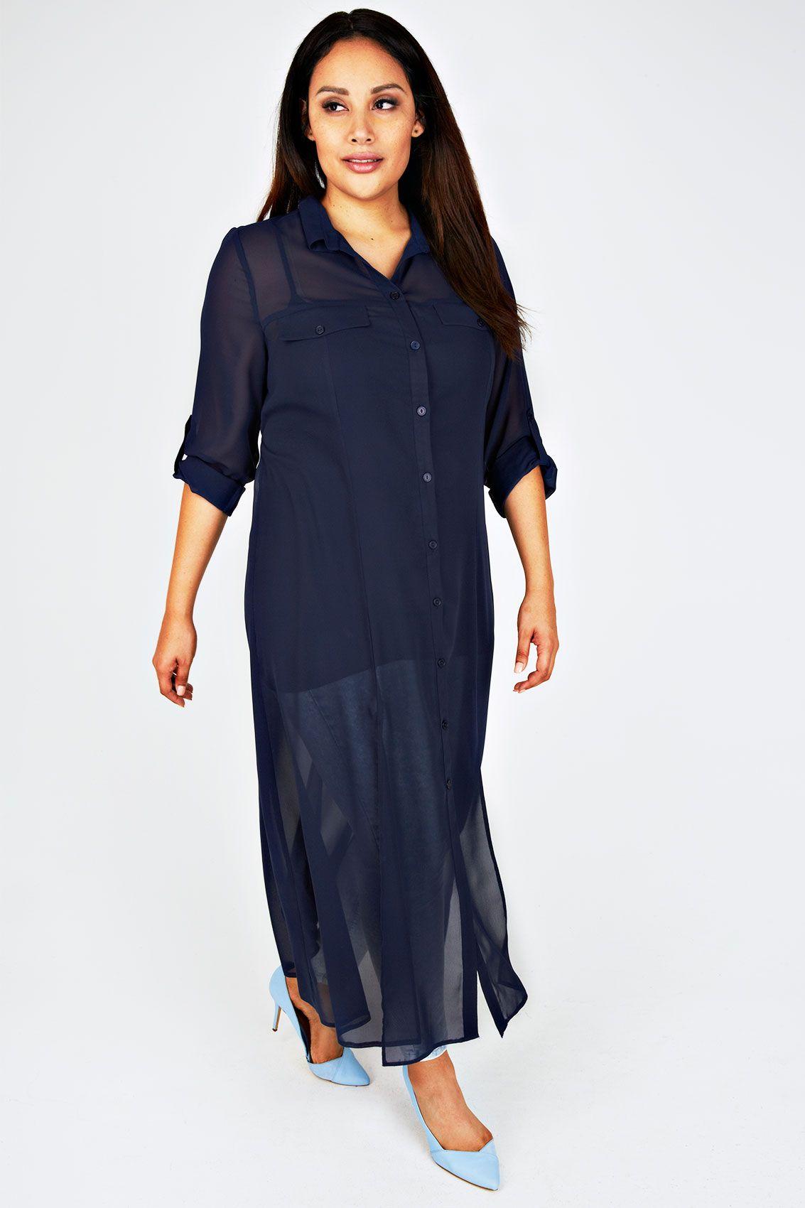 SCARLETT & JO Navy Sheer Maxi Shirt Dress With Front Splits ...