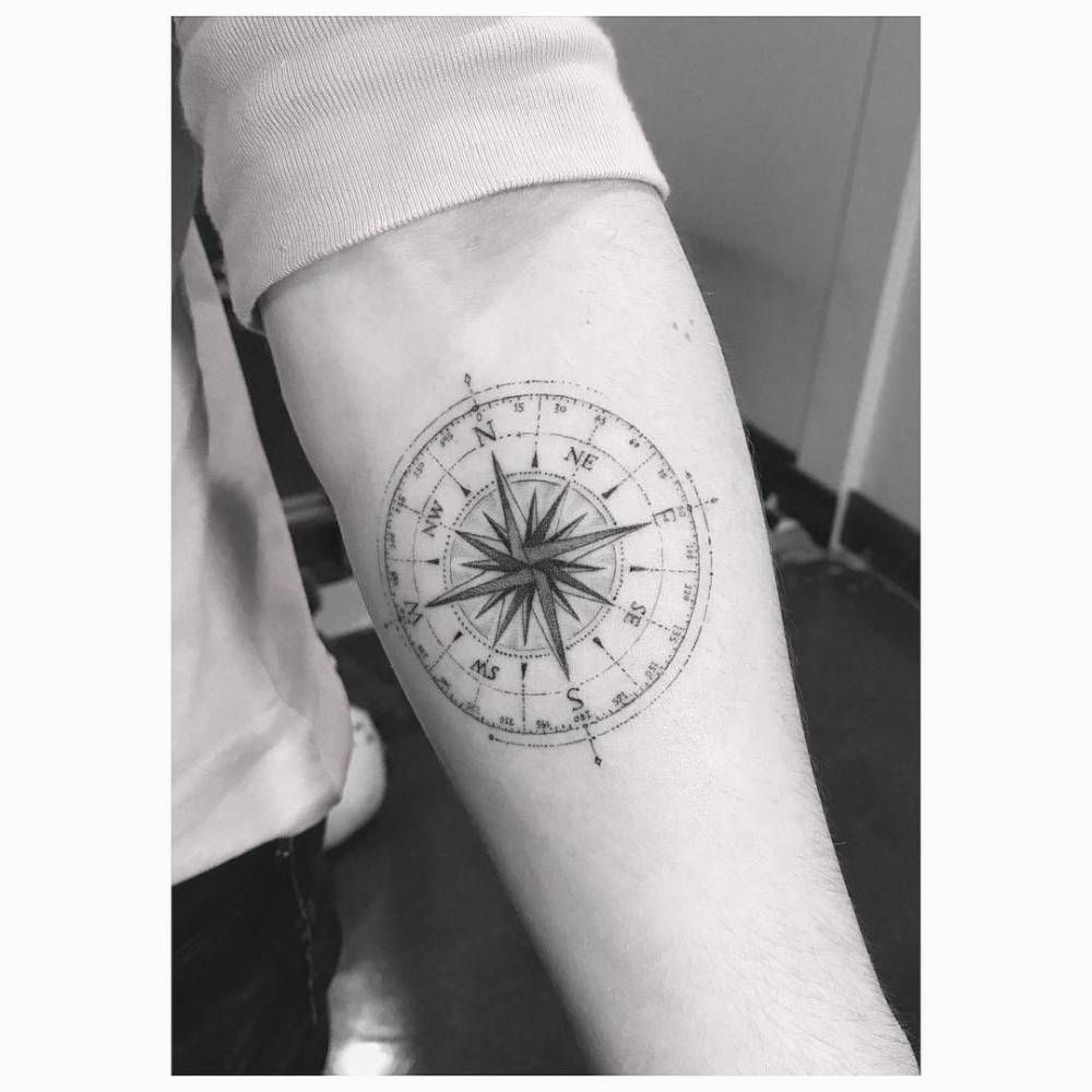 Fine Line Compass Tattoo On Brooklyn Beckham S Left Inner Forearm