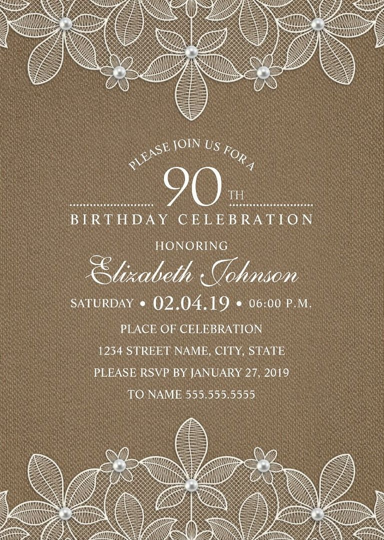 Country Burlap 90th Birthday Invitations u2013 Lace