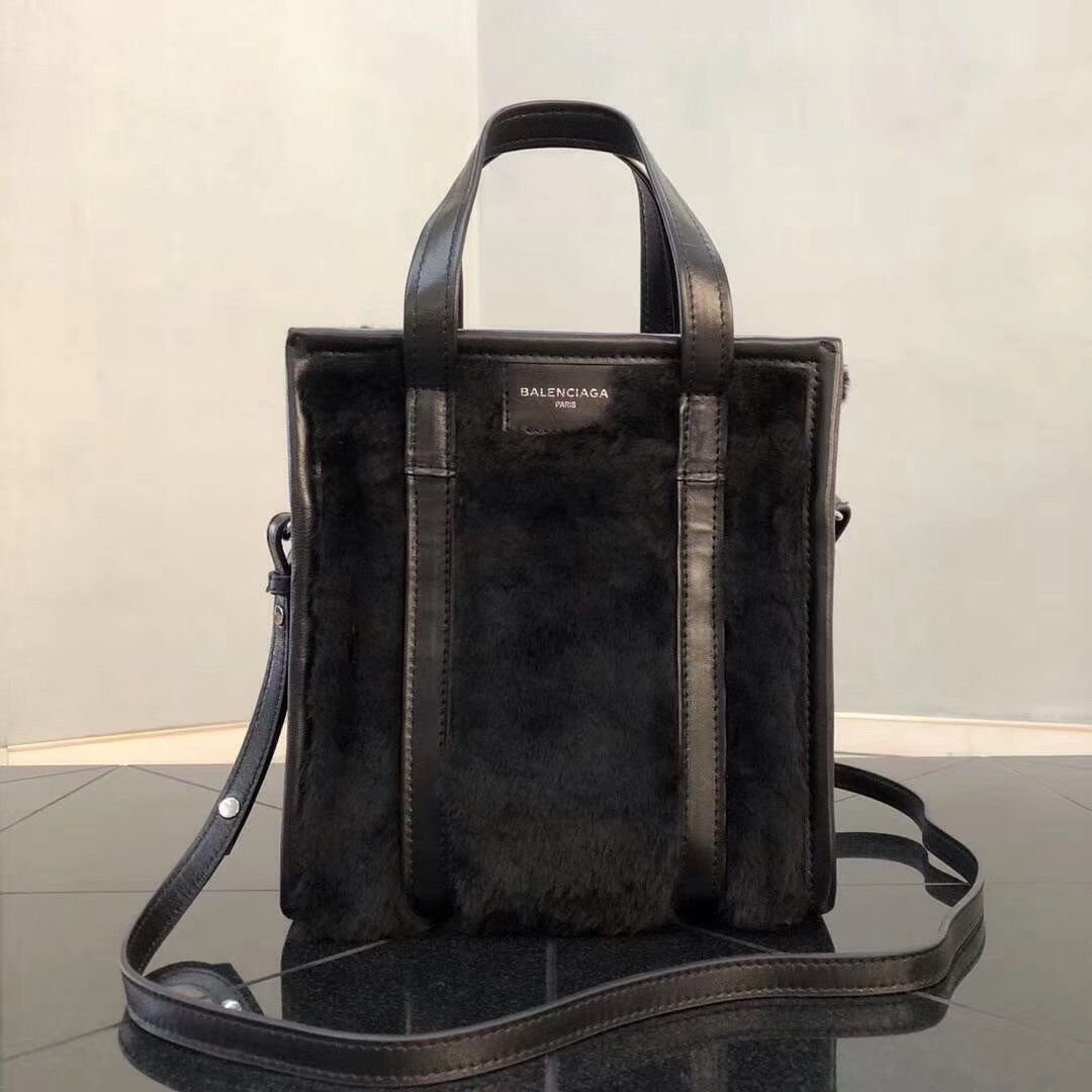a84fa6d557d9 Balenciaga Bazar Shopper XS AJ Shearling Fur Tote Bag Black - Bella Vita  Moda  balenciaga
