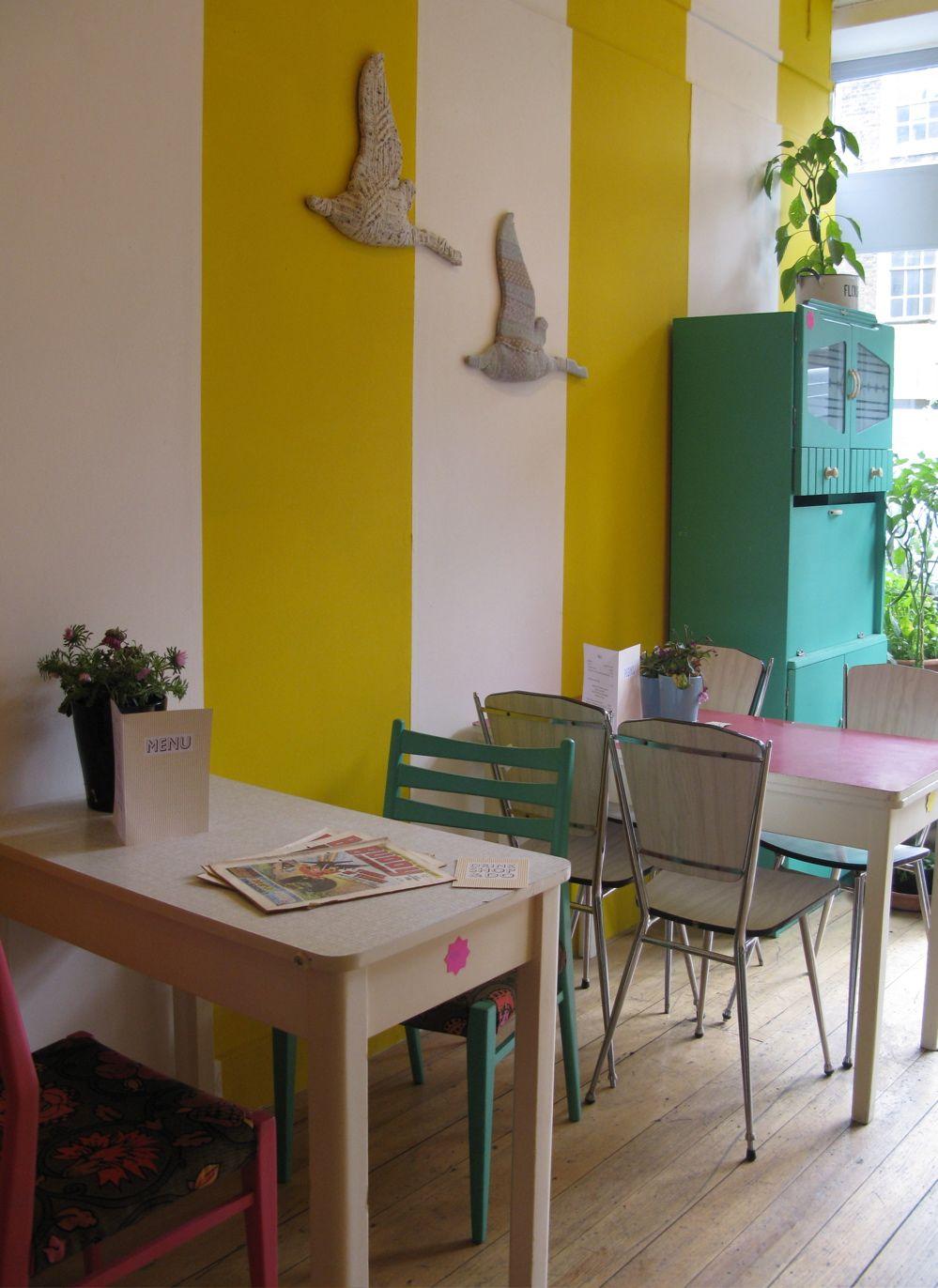 The zesty paint-striped walls of Drink, Shop, Do in Kings Cross ...