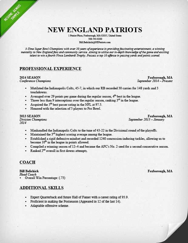 Additional Skills For Resume Glamorous New England Patriots Resume  Resume Genius Blog  Pinterest