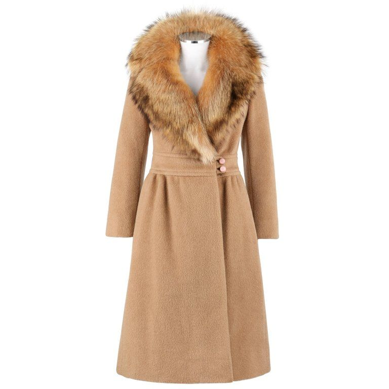 limited guantity incredible prices lace up in Pierre Cardin Coat - C.1970 Camel Wool Genuine Fox Fur Collar ...