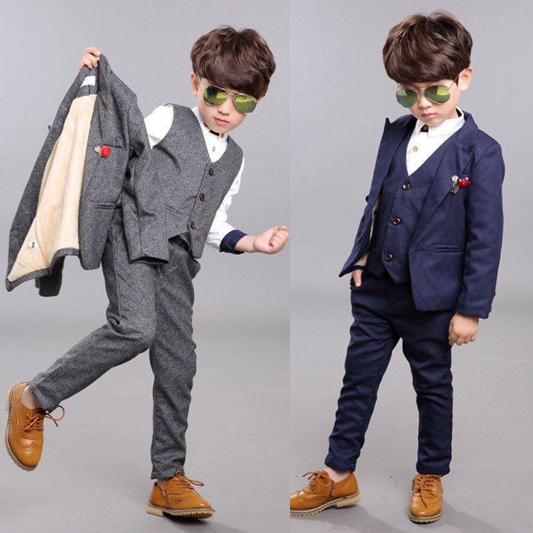 64a9c86253c7 3 Piece Boys Children Wedding Groom Tuxedos Kid s Formal Party ...