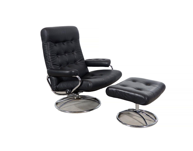 Black leather ekornes stressless reclining chair ottoman