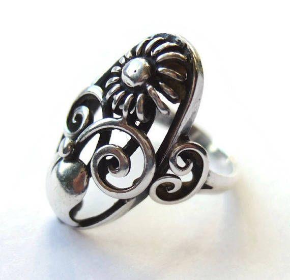 Vintage Danish 830 Silver Ring Scandinavian Silver Floral Ring Https Www Etsy Com Uk Inglenookery Listing 5261805 Scandinavian Jewelry Silver Metal For Sale