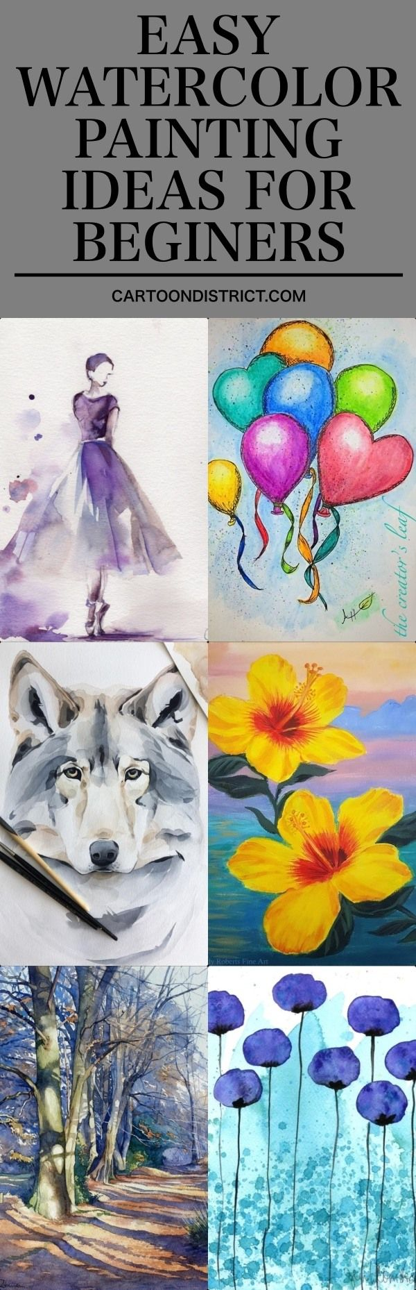 100 Easy Watercolor Painting Ideas for Beginners #easywatercolorpaintings