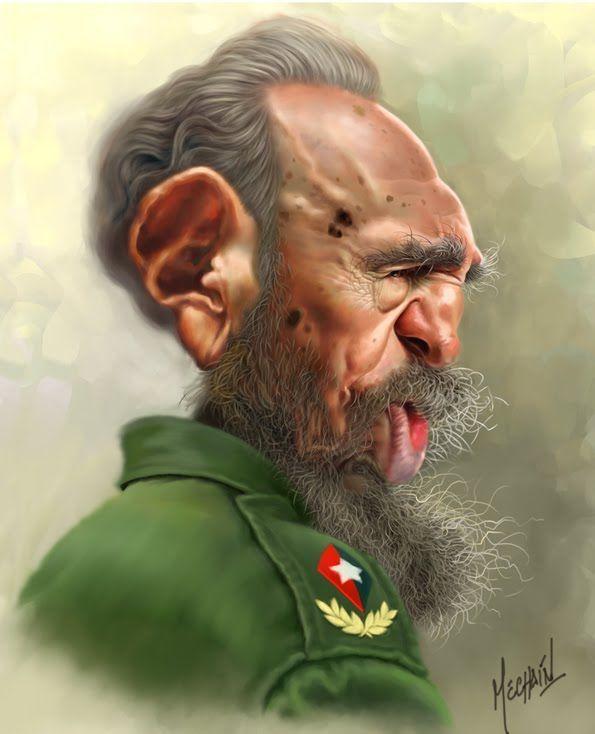 Fidel Castro   Celebrity caricatures, Funny caricatures, Caricature