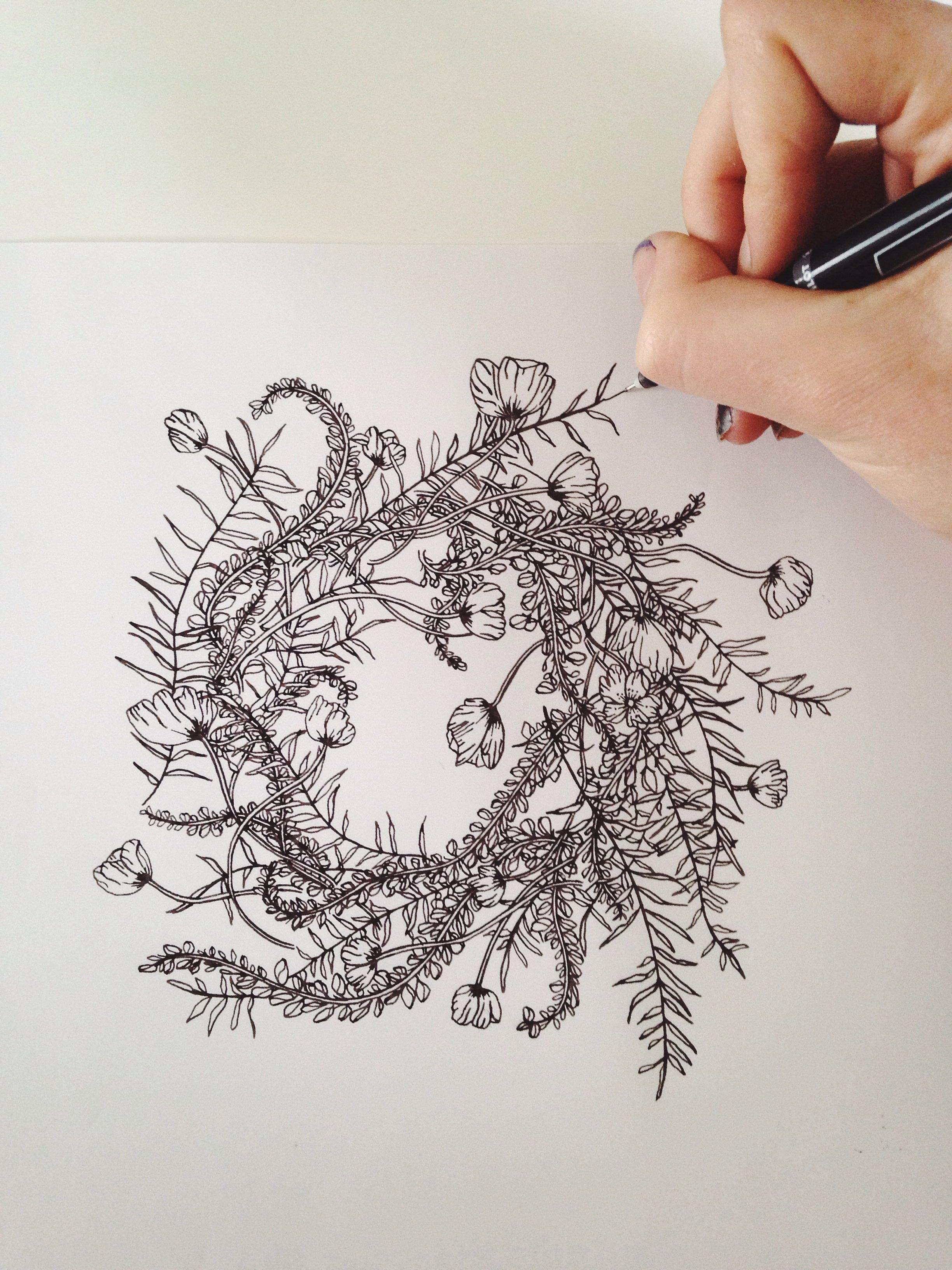 Simple Floral Wreath Drawing