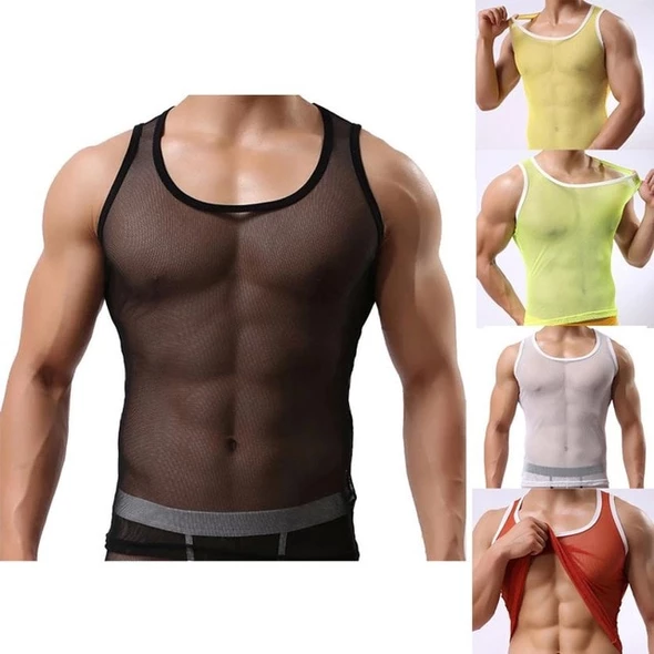 Men Ice Silk Perspective Vest Sleeveless Tank Summer Casual Gym Muscle Vest
