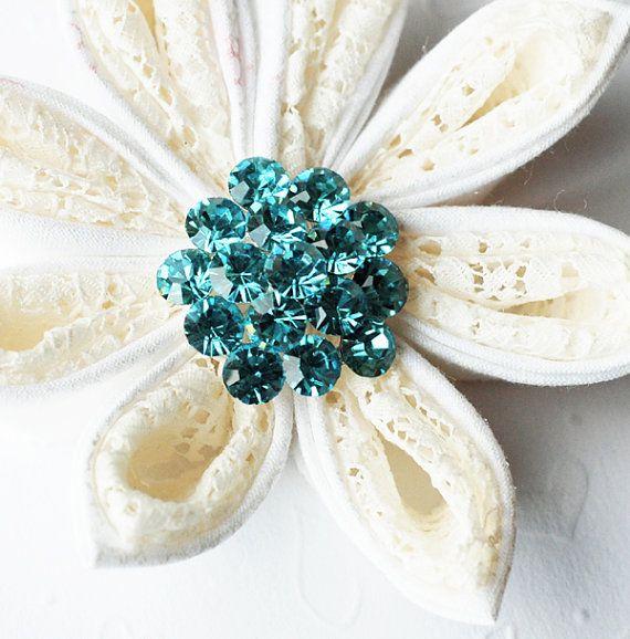 "5 Rhinestone Button Tiffany Teal Blue Round 1.1"" Diamante Crystal Hair Flower Comb Wedding Invitation Scrapbooking BT105"