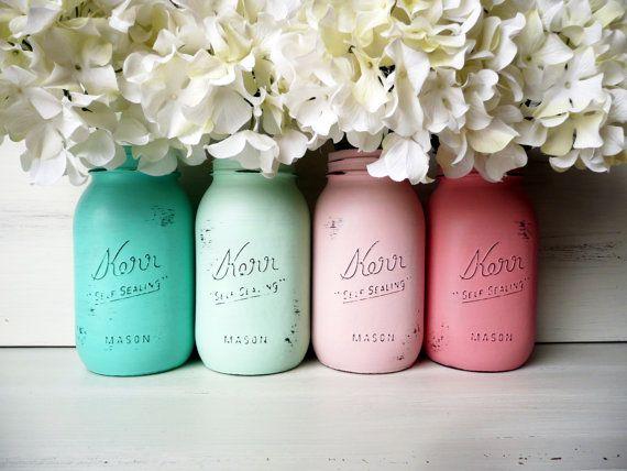 Beach Wedding Decor Painted Mason Jars Centerpiece Home Decor Vase