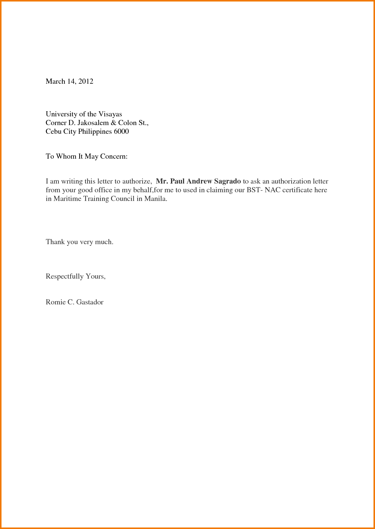 Simple Authorization Letter Sample to Act on Behalf | school