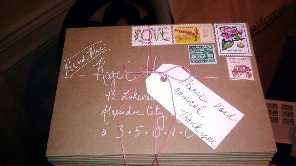 Vintage Stamps For Wedding Invitations: Wedding Invitation Bundle, Vintage Stamps On Kraft