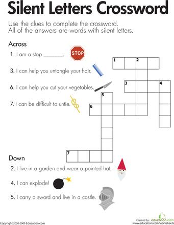 Silent Letters Crossword Worksheet Education Com Phonics Worksheets Reading Worksheets Letter Activity