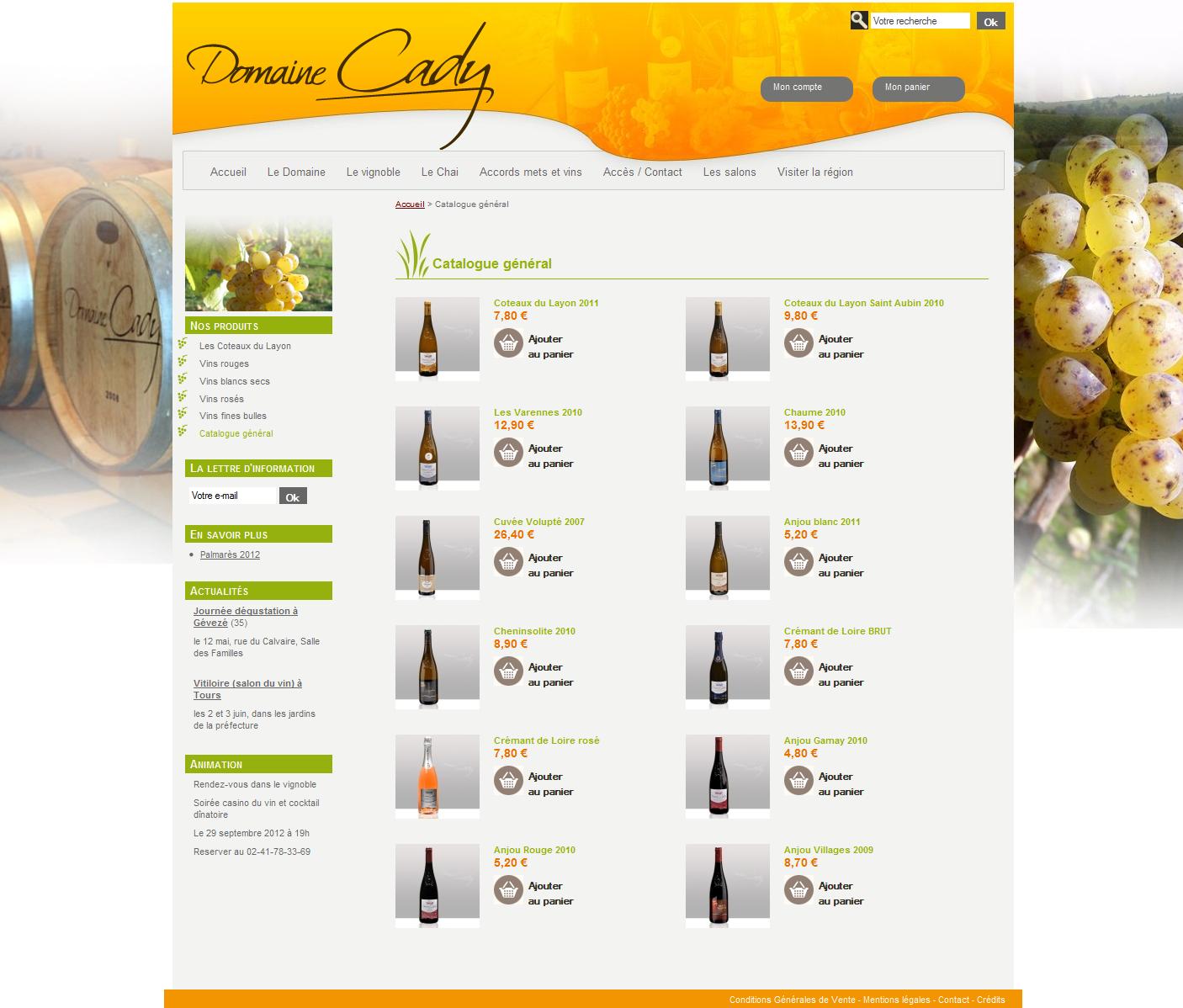 Site e-commerce du domaine Cady, ambiances vins et vignes