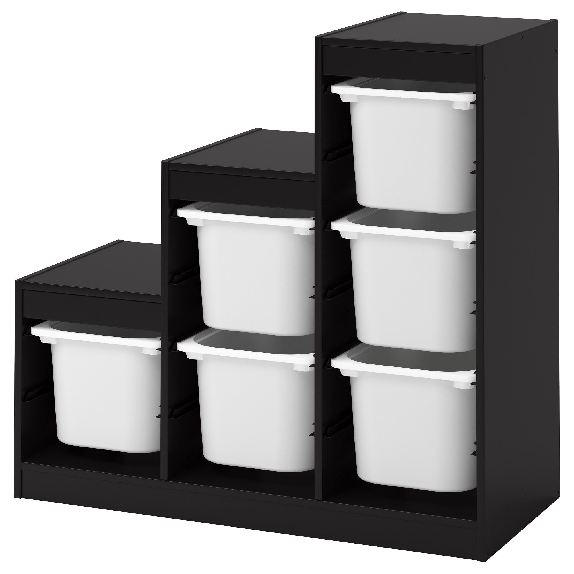 Trofast Storage Combination With Boxes Black White 39x17 3 8x37