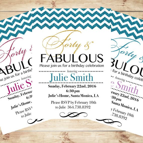 Personalized 40th Birthday Invitations Forty And Fabulous Invitation Any Age Art Party