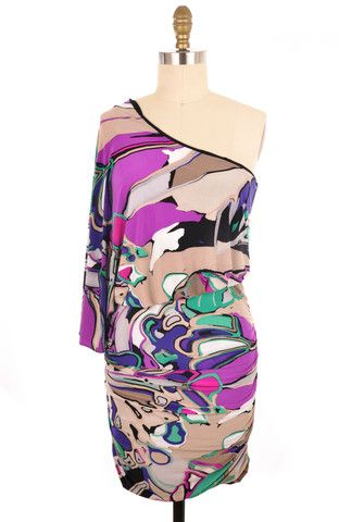 Nine West Multi-Colored Printed One Shoulder Dress Size 6 | ClosetDash  #fashion #style #dresses