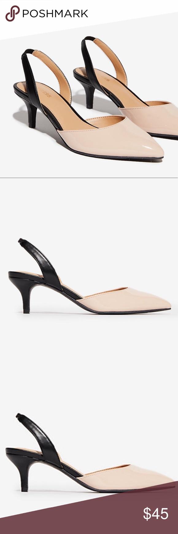 36d98283e Pointed Toe Slingback Kitten Heels Black and nude Pointed toe Open heel  Slingback strap 2 1/4