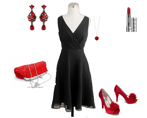 Little black dress with red accessories. | ~*I would so wear this ...
