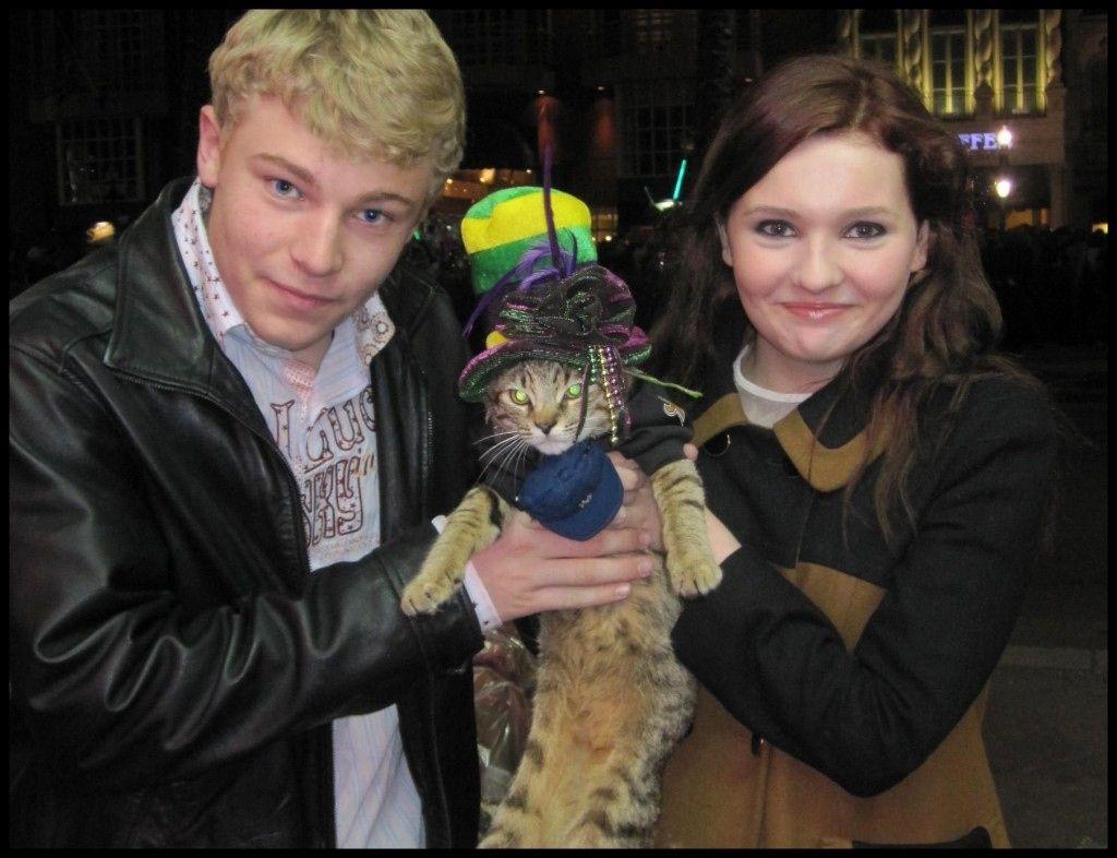 Jimmie Abbie Peter Valentine Wiggin Holding A Posh Kitty Cat