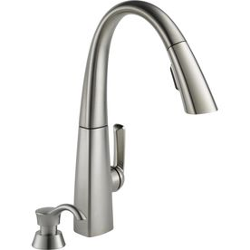 delta arc stainless steel 1 handle pull kitchen faucet this