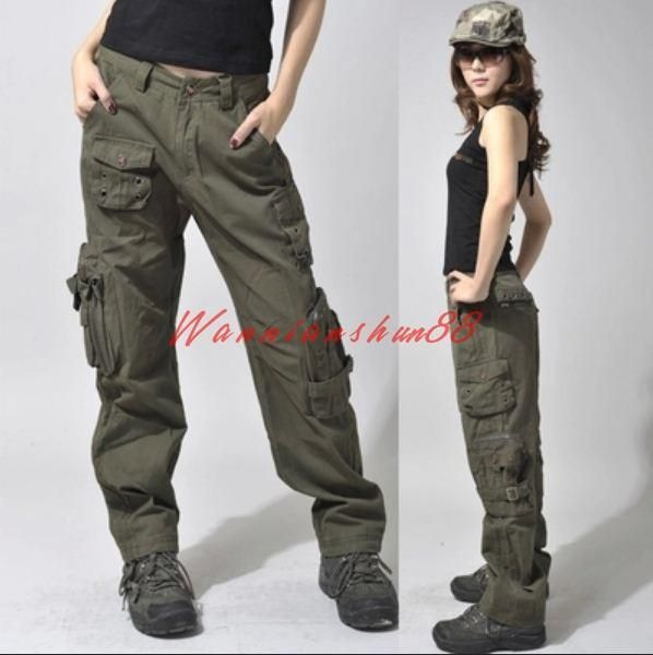 Womens Ladies Cotton Military Cargo Pocket Loose Casual Trousers Outdoor Pants 2019 Moda Stilleri Moda Ve Kiyafet
