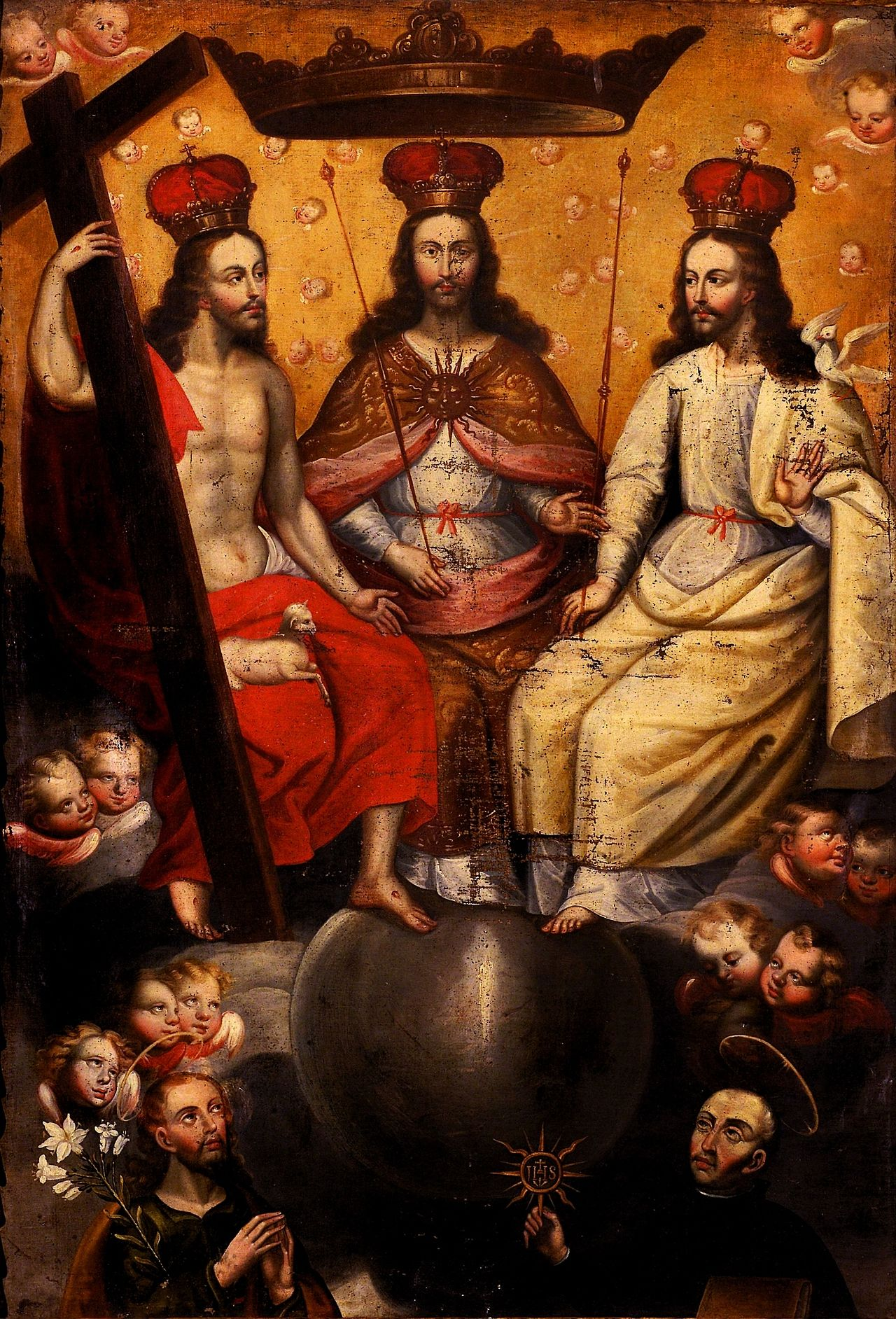The Most Blessed Trinity Enthroned Here Shown As Three