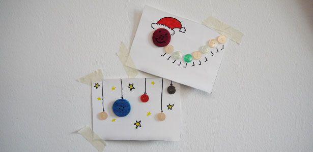 weihnachtskarten mit kindern basteln mit alten kn pfen. Black Bedroom Furniture Sets. Home Design Ideas