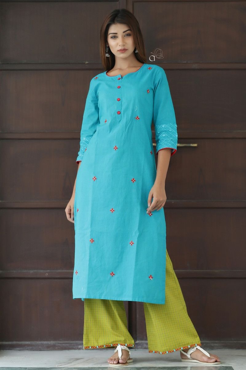 cd0191825 Cotton Handloom Mirror Embroidery Work Long Kurti With Embroidery Work  Palazzo Pants Excellent Quality Description Size