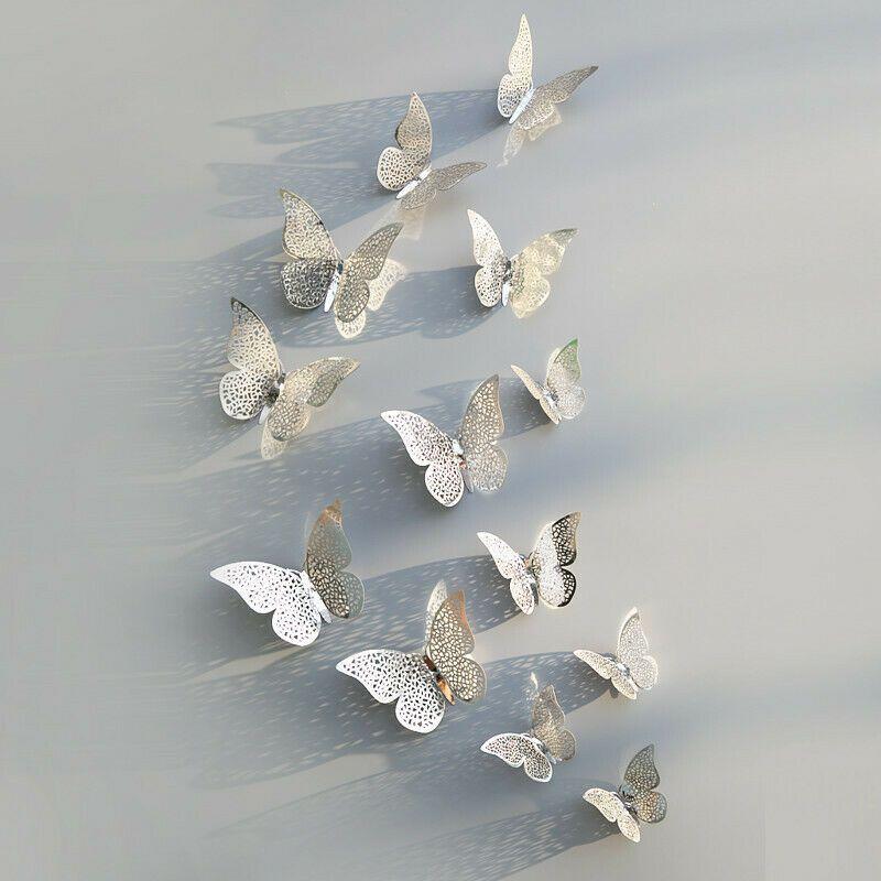 Schmetterlinge 3D Papier WandSticker Deko Aufkleber Wandtattoos Hochzeit Basteln