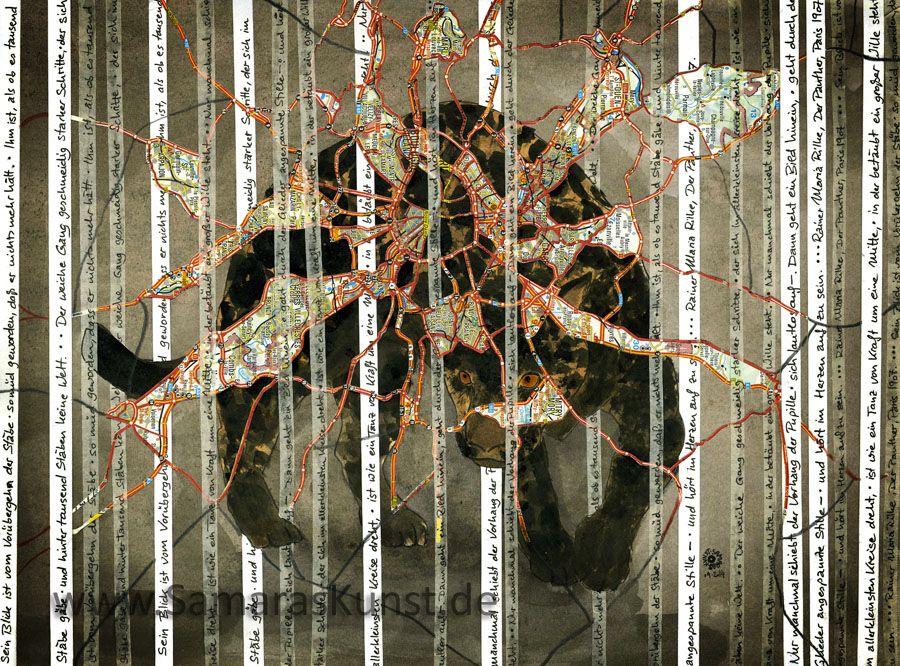 <p>der Panther (nach Rilke), Collage und mixed media</p>