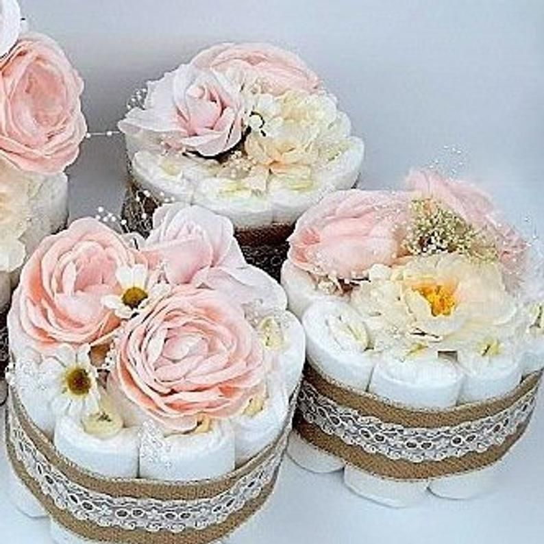Small Diaper Cakes Floral Mini Diaper Cake Pink Mini Diaper