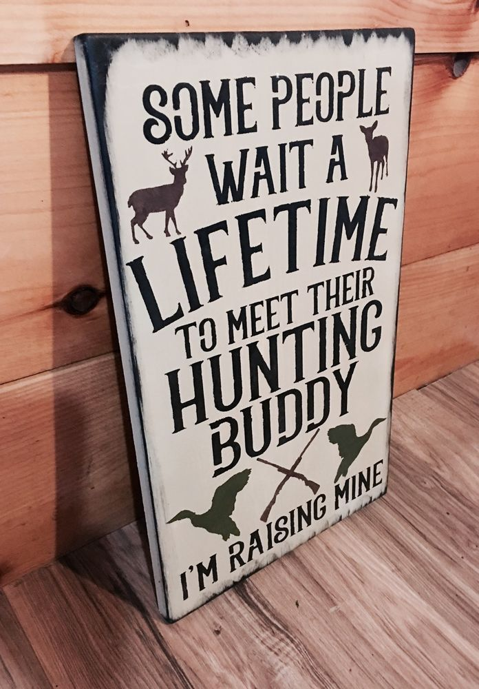 Deer Hunting Buddy Rustic Duck Sign Primitive Cabin Camp Decor Wooden Nursery Ad