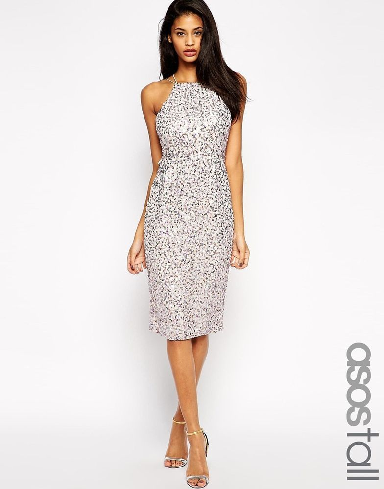 ASOS TALL Drape Back Pencil Dress with Iridescent Sequins (LILAC) RRP £40.00