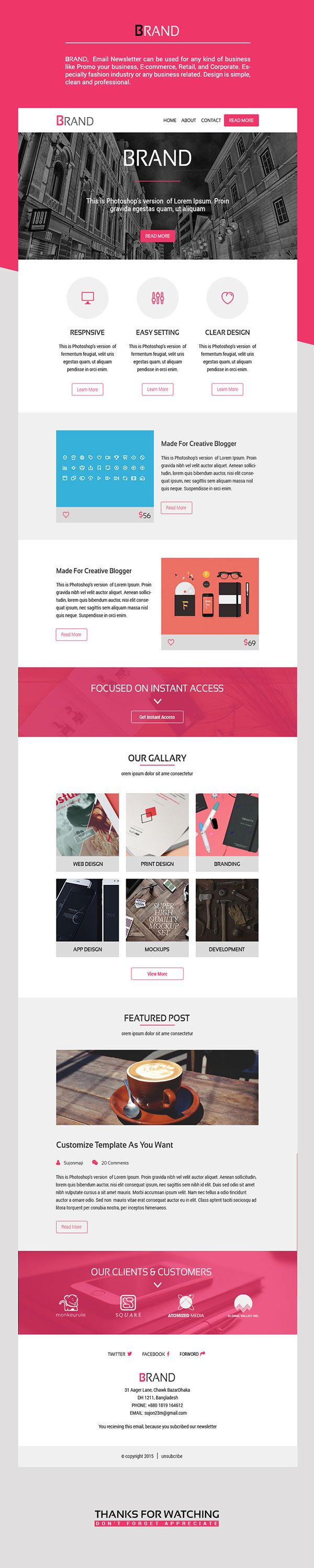 Brand Enewsletter Email Template On Behance Html Emails
