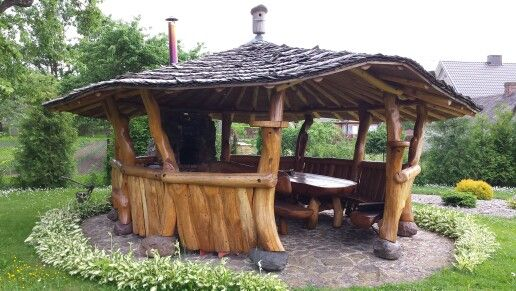 Pavesine Holz Pavillon Alte Hutte Grillhutte