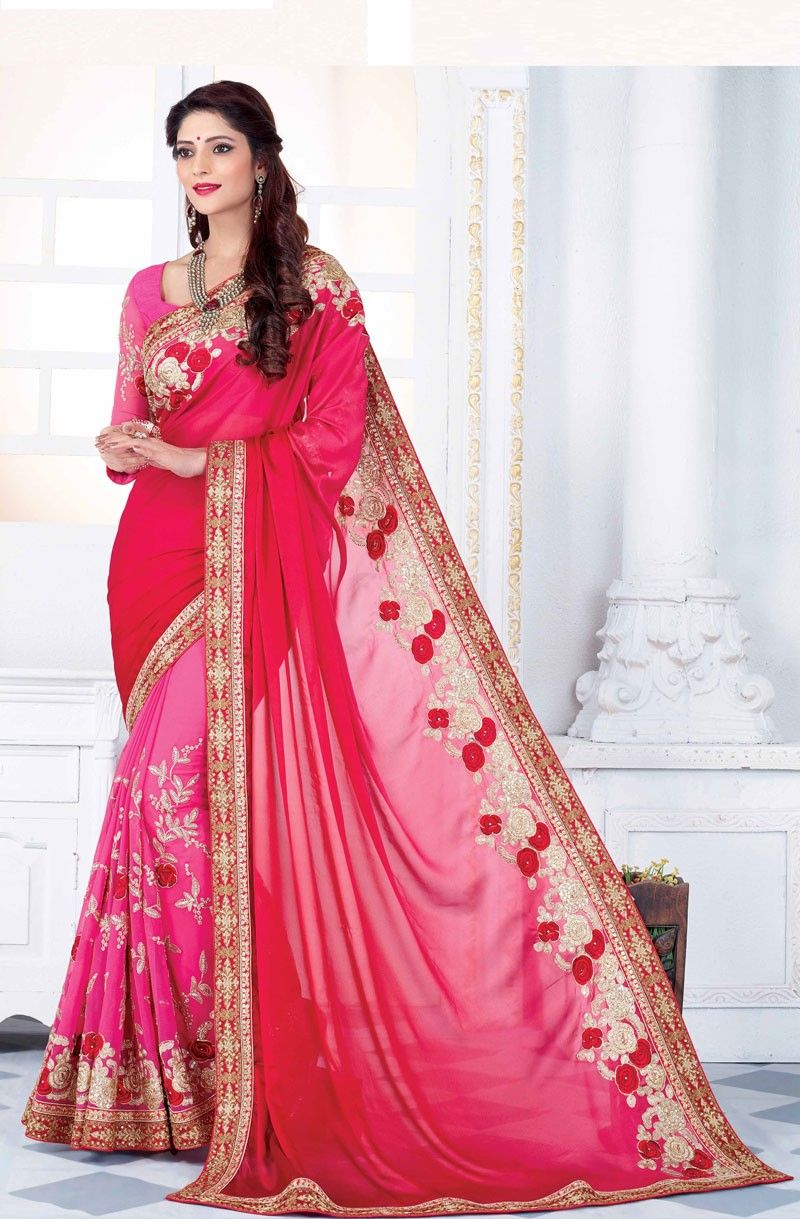 designer red and pink embroidered wedding saree | Partywear sarees ...