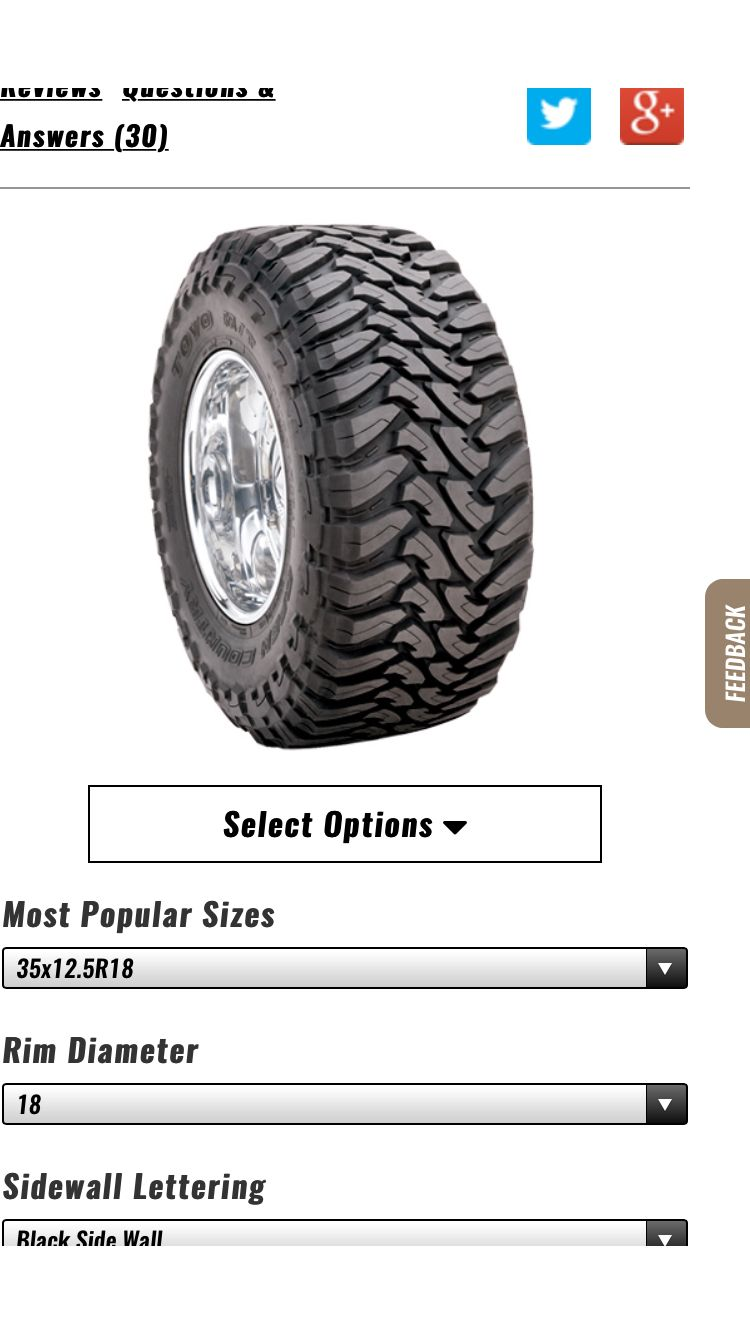 Toyo open country MT 35x12.50R18 Pro comp, Monster