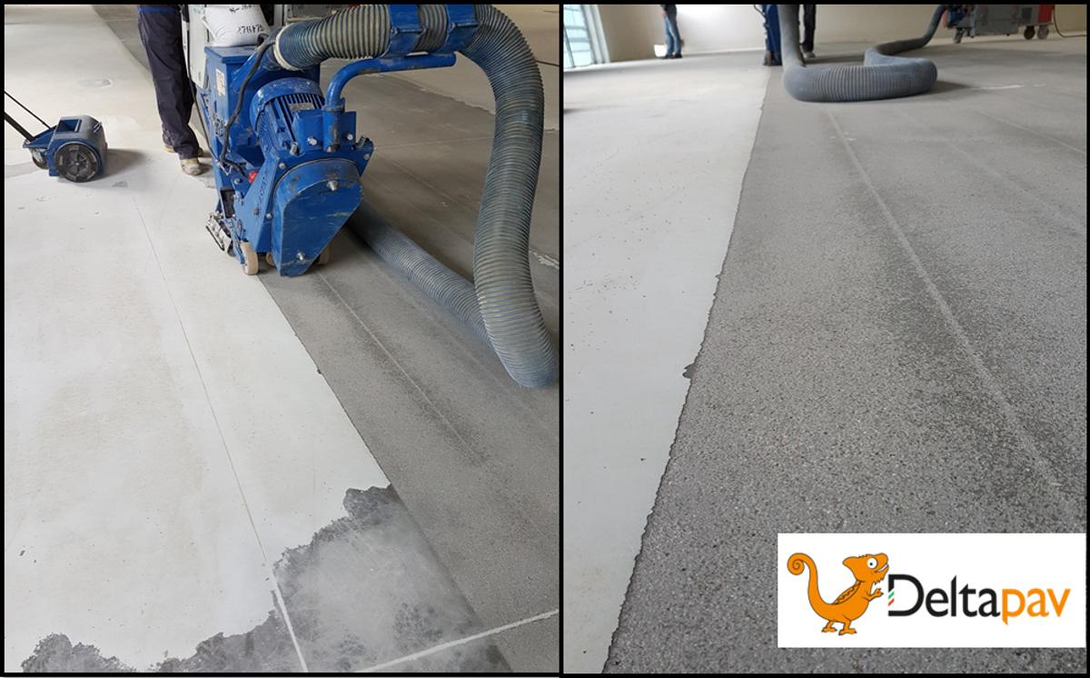 Dettagli della ristrutturazione di una #pavimentazione industriale con rivestimento sintetico resinoso con barriera al vapore e multistrato ad elevate resistenze meccaniche, chimiche e U.V. #pavimentazioneindustriale #resina #teamdeltapav