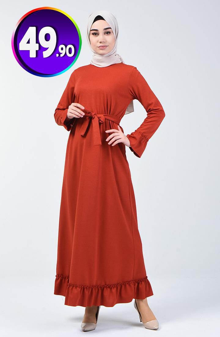 Buzgulu Kusakli Elbise 0031 05 Kiremit Sefamerve 49 90 Tl Indirimli Tesettur Elbise Modelleri 2020 Elbise Kusakli Elbise Elbise Modelleri